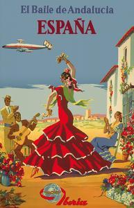 España (Spain)- Iberia Air Lines of Spain - Flamenco Dancers by Inc^ Pacifica Island Art