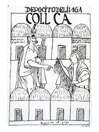 Inca Storehouses (Woodcut)-Felipe Huaman Poma De Ayala-Giclee Print
