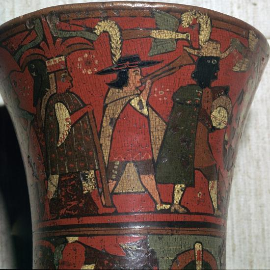 Incan beaker showing Spaniards and Peruvians, c.17th century-Unknown-Giclee Print