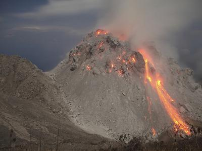 Incandescent Rockfall at Rerombola Lava Dome of Paluweh Volcano-Stocktrek Images-Photographic Print