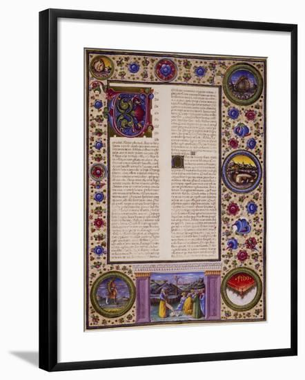Incipit from Book of Joel, from Volume II of Bible of Borso D'Este--Framed Giclee Print