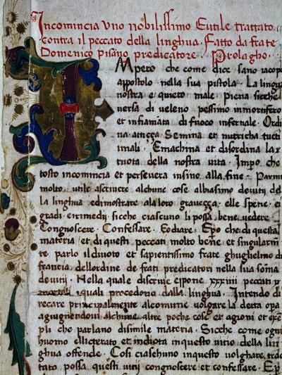 Incipit of the Pungilingua-Domenico Cavalca-Giclee Print