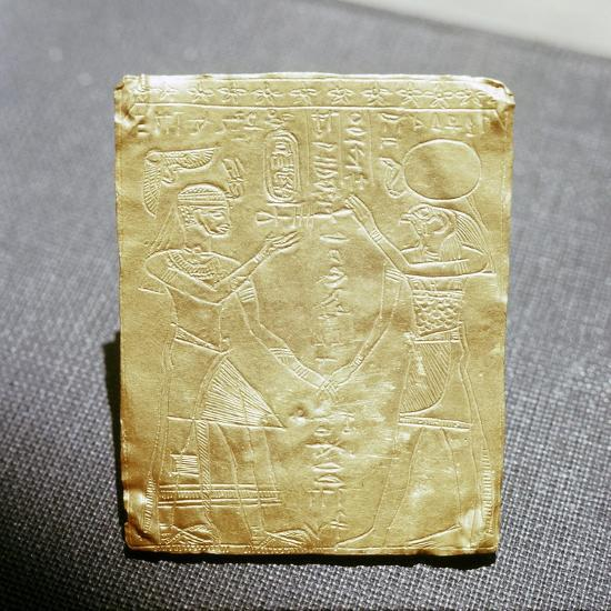 Incised Nubian gold plaque depicting a Meroitic king honouring the Egyptian god Horus, Sudan-Werner Forman-Giclee Print