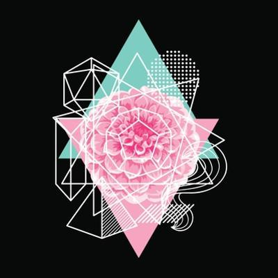 Background with Abstract Geometric Shapes and Flower by incomible