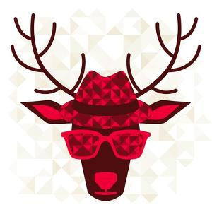 Print With Deer In Hipster Style by incomible