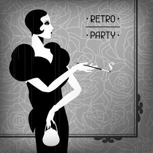 Retro Party Background with Beautiful Girl of 1920s Style by incomible