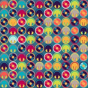 Seamless Pattern With Headphones And Vinyl Record by incomible