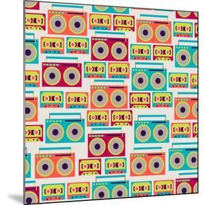 Seamless Pattern With Tape Recorders And Audio Cassette by incomible