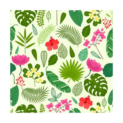 Seamless Pattern with Tropical Plants, Leaves and Flowers