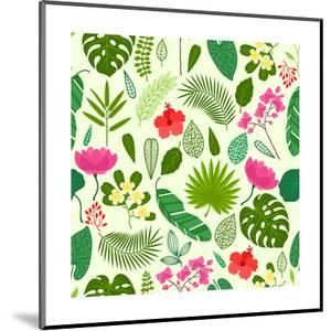 Seamless Pattern with Tropical Plants, Leaves and Flowers by incomible