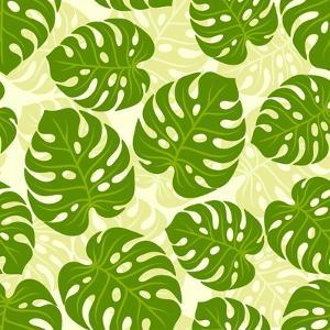 Seamless Tropical Pattern with Stylized Monstera Leaves by incomible