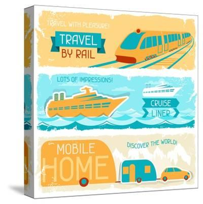 Set Of Horizontal Travel Banners In Retro Style