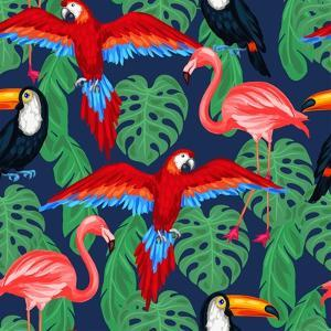 Tropical Birds Seamless Pattern with Palm Leaves by incomible