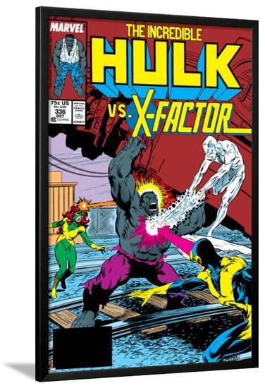 Incredible Hulk No.336 Cover: Iceman, Grey, Jean, Cyclops, Hulk and X-Factor Crouching-Todd McFarlane-Lamina Framed Poster