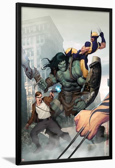 Incredible Hulk No.603 Cover: Skaar, Wolverine, Banner and Bruce-Ariel Olivetti-Lamina Framed Poster