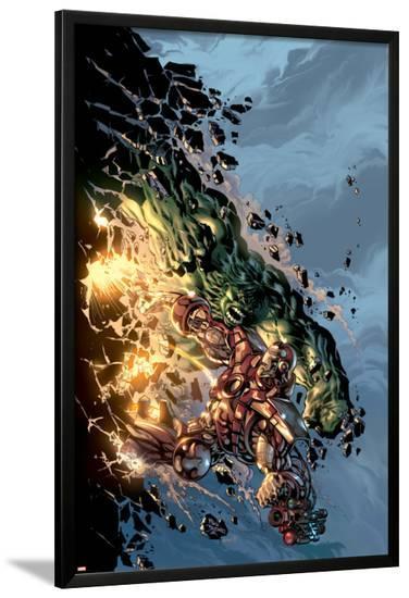 Incredible Hulk No.71 Cover: Hulk and Iron Man-Mike Deodato-Lamina Framed Poster