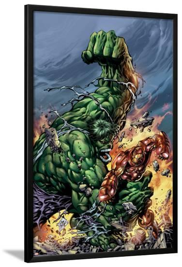 Incredible Hulk No.74 Cover: Hulk and Iron Man-Mike Deodato-Lamina Framed Poster