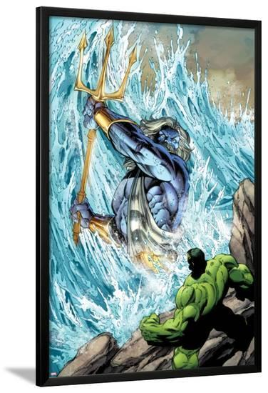 Incredible Hulks No.621: Poseidon Facing Hulk with his Enchanted Trident-Paul Pelletier-Lamina Framed Poster