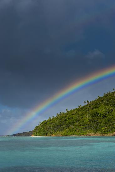 Incredible Rainbow over an Islet of Ofu Island, Manu'A Island Group, American Samoa, South Pacific-Michael Runkel-Photographic Print