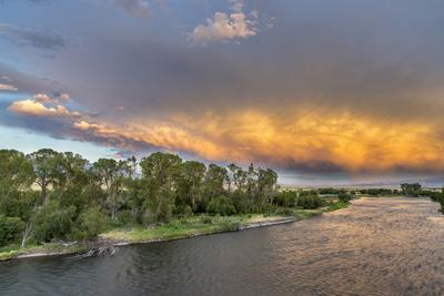Incredible Stormy Light on the Madison River at Sunset Near Ennis, Montana, USA-Chuck Haney-Photographic Print