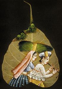 Inde Peinture Sur Feuille D'Arbre Sechee