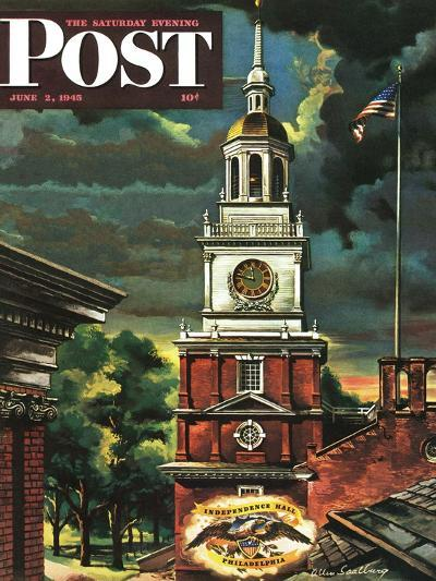 """Independence Hall, Philadelphia, Pa.,"" Saturday Evening Post Cover, June 2, 1945-Allen Saalburg-Giclee Print"