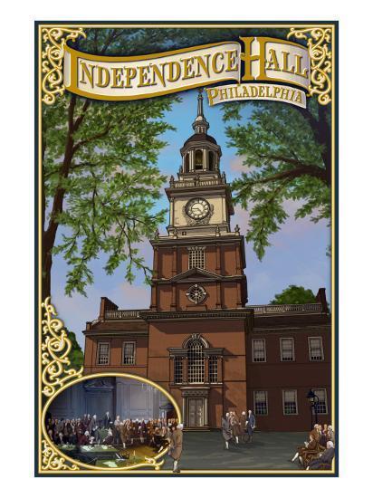 Independence Hall - Philadelphia, Pennsylvania-Lantern Press-Art Print