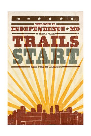 Independence, Missouri - Skyline and Sunburst Screenprint Style-Lantern Press-Art Print