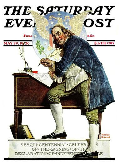 """Independence"" or ""Ben Franklin"" Saturday Evening Post Cover, May 29,1926-Norman Rockwell-Giclee Print"