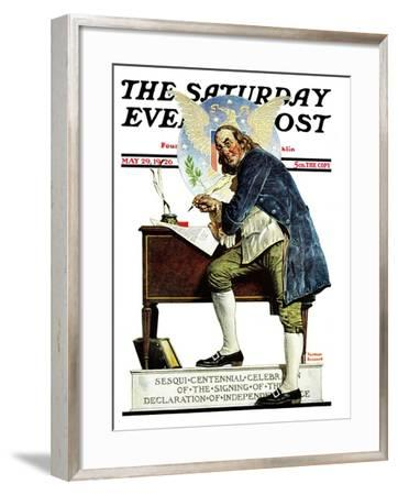 """""""Independence"""" or """"Ben Franklin"""" Saturday Evening Post Cover, May 29,1926-Norman Rockwell-Framed Giclee Print"""