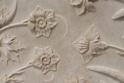 India, Agra, Taj Mahal. Detail of Carved Marble with Flower Design-Cindy Miller Hopkins-Photographic Print