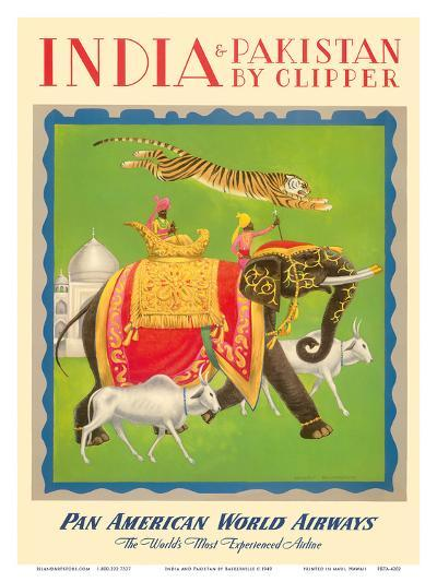 India and Pakistan by Clipper - Pan American World Airways--Art Print
