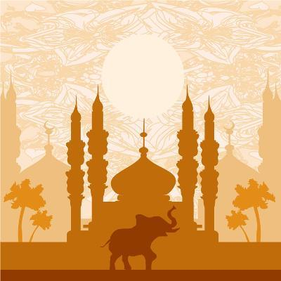 India Background,Elephant, Building And Palm Trees-JackyBrown-Art Print