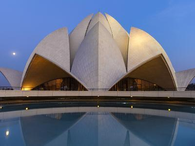 India, Delhi, New Delhi, Full Moon Over the Bahai House of Worship Know As the The Lotus Temple-Jane Sweeney-Photographic Print