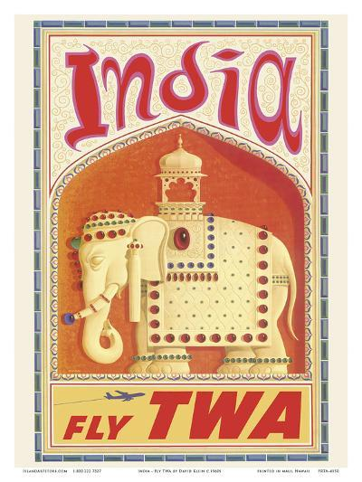 India - Fly TWA (Trans World Airlines) - Bejeweled Indian Elephant with Howdah (Carriage)-David Klein-Art Print