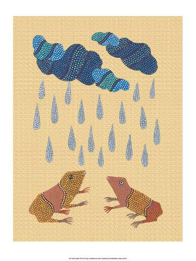 India Folk Art, Frogs in the Rain--Art Print
