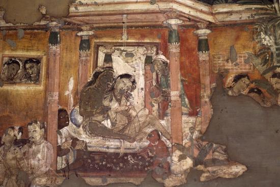India, Fresco in Ajanta Caves--Photographic Print