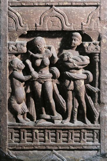 India, Haryana, Gurgaon, Sundarananda Helping Sundari with Her Toilet, Kushan Period--Giclee Print