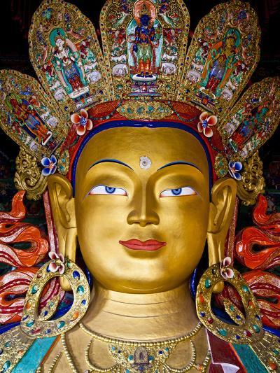 India, Ladakh, Thiksey, the Immense and Beautifully Gilded Maitreya Buddha in the Chamkhang Temple -Katie Garrod-Photographic Print