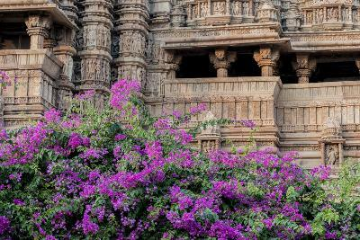 India, Madhya Pradesh State Temple of Kandariya with Bushes of Bougainvillea Flowers in Foreground-Ellen Clark-Photographic Print
