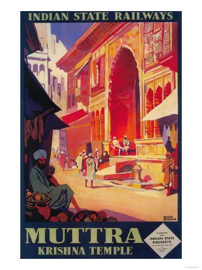 India - Muttra Krishna Temple Travel Poster-Lantern Press-Art Print