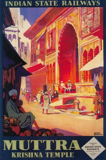 India - Muttra Krishna Temple Travel Poster-Lantern Press-Wall Mural