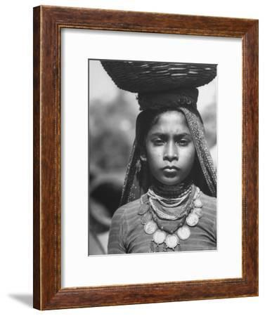 India Native Wearing Traditional Clothing, Carrying Basket on Her Head-Margaret Bourke-White-Framed Premium Photographic Print