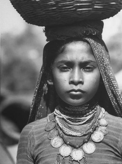 India Native Wearing Traditional Clothing, Carrying Basket on Her Head-Margaret Bourke-White-Photographic Print