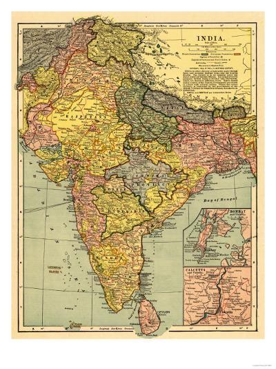 India - Panoramic Map-Lantern Press-Art Print