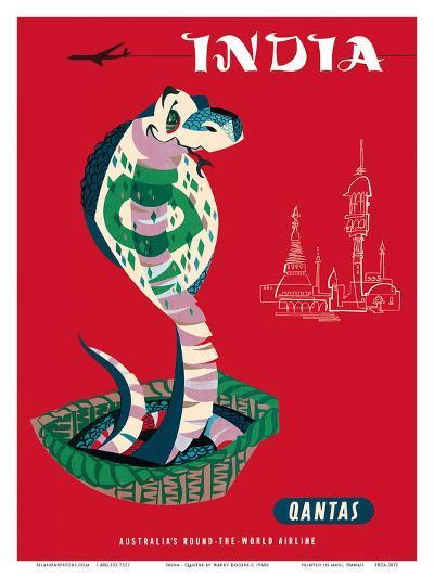 India - Qantas Airways - Indian Cobra (Naja Naja)-Harry Rogers-Art Print