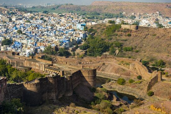 India, Rajasthan, Jodhpur. Mehrangarh Fort, view from tower of old city wall and houses beyond pain-Alison Jones-Photographic Print
