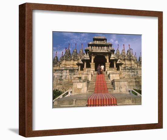 India, Rajasthan, Ranakpur, a Couple Descend Steps at the Famous Chaumukha Mandir, an Elaborately S-Amar Grover-Framed Photographic Print