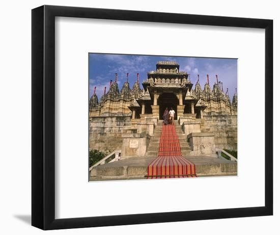 India, Rajasthan, Ranakpur, a Couple Descend Steps at the Famous Chaumukha Mandir, an Elaborately S-Amar Grover-Framed Photographic Print