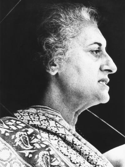 India's Prime Minister Indira Gandhi Speaks to Supporters on June 18, 1975--Photo